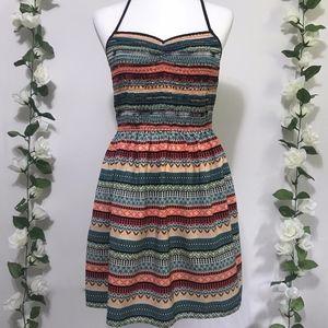 Striped Tribal Pattern Racerback Dress w Pockets L
